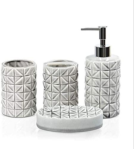 Juegos de accesorios de baño 4 piezas de cerámica Dispensador de jabón Plato Gel de ducha Champú Botella de líquido Soporte para cepillo de dientes Taza de dientes Taza de agua Accesorios de baño