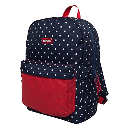 Levi's Kids' Classic Logo Backpack, Navy Dots/Red, O/S