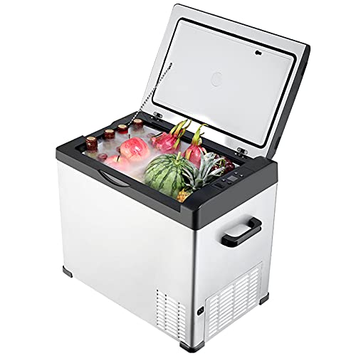 CJUJ Nevera Eléctrica Portátil 50 litros 12V 24V Compresor Refrigerador Pequeño con Pantalla LCD y asa Mini Nevera para Coche, camión, Barco y Autocaravana -20 °C a 20 °C