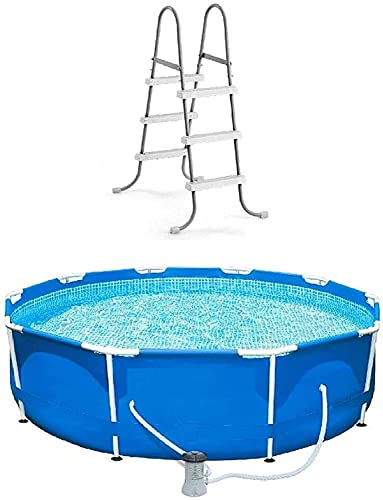 Bailiran Garden Swimming Pool,10 Foot Round Swimming Pool Durable Pump Filter with Ladder Metal Frame Best Above Ground Pool Summer for Kids and Adults Swim Center