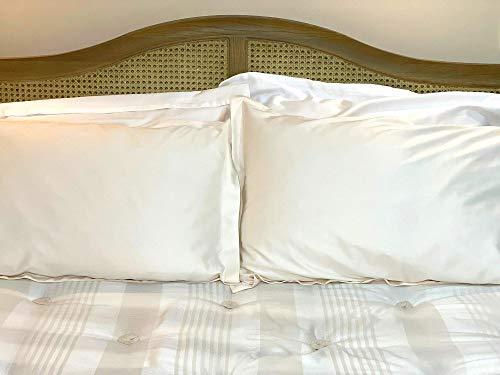 atypical - Fundas de almohada de algodón egipcio de 400 hilos (paquete de 2) (marfil, 75 x 50 cm)