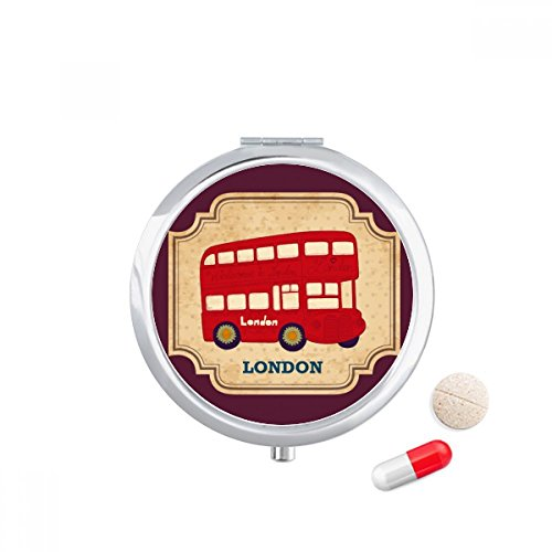 DIYthinker Uk Londen Double-Decker Bus Stempel Travel Pocket Pill Case Medicine Drug Opbergdoos Dispenser Spiegel Gift