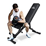 FLYBIRD Weight Bench, Adjustable Strength Training Bench for Full Body Workout with Fast Folding-...