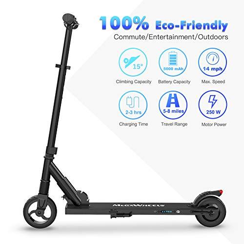 MEGAWHEELS E Scooter Tret-Roller, CityRoller Elektrischer Roller Klappbar mit 12km Langstrecken Akku, bis zu 23km/h, Einfach zu Falten und zu Tragen E-Roller für Erwachsene Jugendliche und Kinder - 5