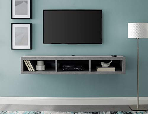 """Martin Furniture Floating Tv Console, 60"""",Stone Gray"""