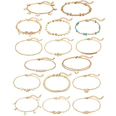 Softones 16Pcs Ankle Bracelets for Women Girls Gold Silver Two Style Chain Beach Anklet Bracelet Jewelry Anklet Set,Adjustable Size