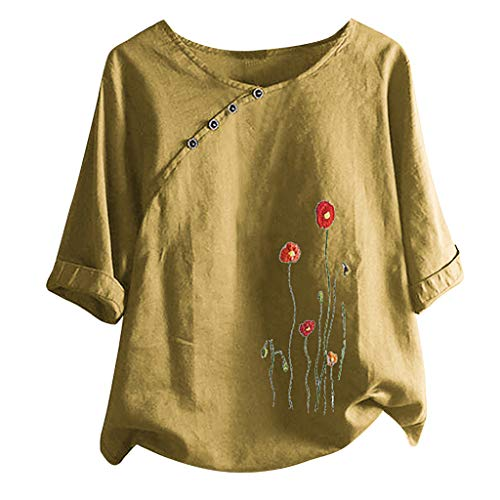 Women's Half Sleeve Retro Chinese Frog Button Tops Blouse Casual Tunic Tops Floral Graphic Tees for Women