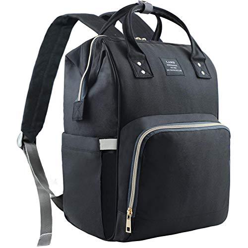 EZGO Land Baby Diaper Changing Bag, Mom Dad Backpack Rucksack, Hospital Maternity Bags, Large Capacity & Wide Open Design & Waterproof & Keep Warming - Girl & Boy (Black)