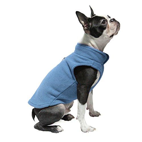Gooby - Fleece Vest, Small Dog Pullover Fleece Jacket with Leash Ring, Blue, Medium