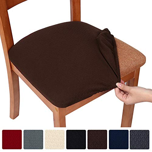smiry Stretch Spandex Jacquard Dining Room Chair Seat Covers, Removable Washable Anti-Dust Dinning Upholstered Chair Seat Cushion Slipcovers - Set of 6, Chocolate