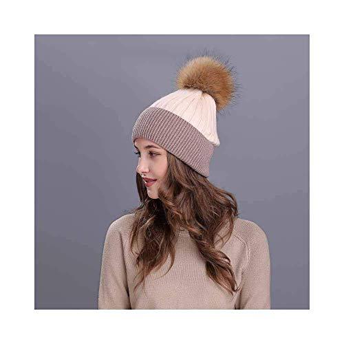 MZHAOANHE Chapeau d'automne Et d'hiver Mesdames Polaire Chapeau De Couleur Extérieure Correspondant Tricoter Chapeau De Son De Riz 55-60cm