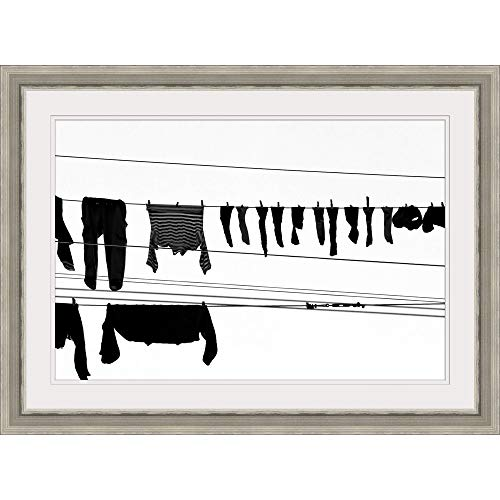"GREATBIGCANVAS Laundry Drying on a Clothesline, Genoa, Liguria, Italy. Silver Framed Wall Art Print, 18""x12""x."