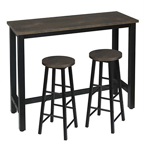 WOLTU Set Mesa de Bar y 2 uds. Taburete de Bar Muebles Cocina Silla de Comedor para Salon Cocina Mesa 120x40x100 cm Estructura de Metal, MDF Negro+Oxidado BT17srs+BH130srs-2