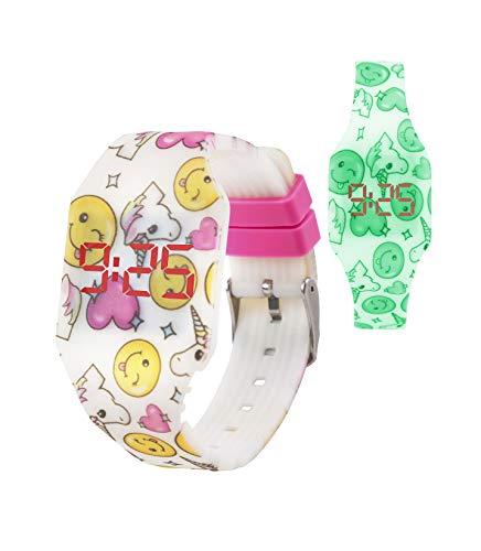 KIDDUS Reloj LED Digital para niña o niño. Pulsera de Silicona Suave para niños y Adultos. Batería Japonesa reemplazable. Fácil de Leer y Aprender Las Horas. KI10217 Unicornio Fluor