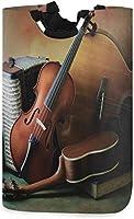 音符バイオリンヴィンテージランドリーバスケットは、ギフトバスケット、寝室、衣類用のハンドル付きの大きな収納ビンを妨げます