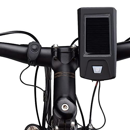 FGKLU 280 Lúmenes Brillo Alto Luz Bicicleta, Luces Delantera Bicicleta, con Carga Solar y Función de Altavoz, para Carretera y Montaña