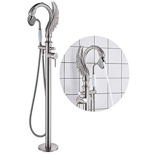 Votamuta Edelstahl Bodenmontierte Badewannen-Einfüllhahn Duscharmatur Freistehende Duscharmatur mit Handbrause gebürstetes Nickel-Finish