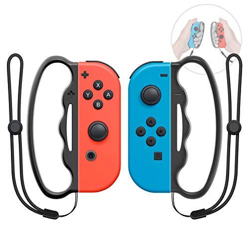 MENEEA Grip da Boxe per Nintendo Switch Joy-con Fitness Boxing Game, Fit Boxing Clasp Accessori Maniglia per Adulti e Bambini, 2 Confezioni (Nero)