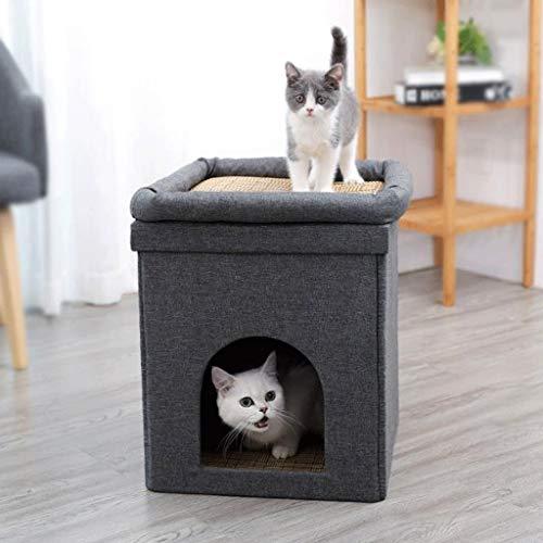 YUIJL Hundehütte Katzenbett Hundesofa Haustierbett Hundebett, Sommer-kühle Katzen Betten Klettergerüst Katzenkorb Haustier-Zelt-Haus Kleiner Kennel Cat House Tiere Cave - Grau (Size : S)