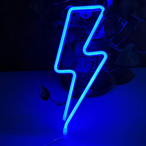 UCSAJI Lightning LED Neon Lights Lightning Shaped Decor Light Sign Lamp Christmas Wall Decor Birthday Party Kids Room Living Room Home Wedding Party Decor (Blue)