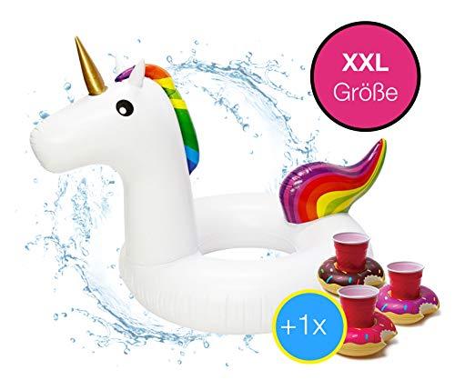XXL Aufblasbar Rainbow Einhorn Schwimmring Schwimmreif - coole, trendige Luftmatratze Schwimmbrett Schwimminsel für Pool, Wasser für Kinder und Erwachsene inkl. 1x Getränkehalter Cocktailhalter