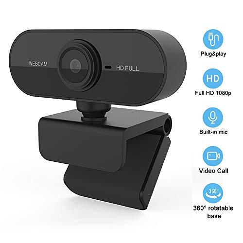 Dewanxin USB Full HD 1080P Webcam mit geräuschunterdrückendem Mikrofon PC Laptop Desktop Webkamera mit 360 ° drehbarem Base Plug & Play für Videoanrufe,Spiele,Live-Streaming und Konferenzen