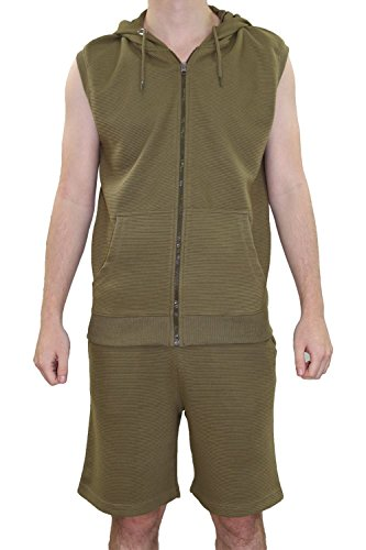 Heren Orlando Patroon Hooded Rits Gillet Shorts Track pak