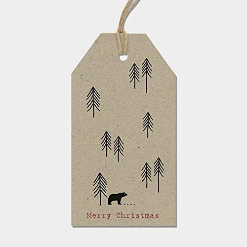East of India - Set di 6 cartellini per regali natalizi serie Woodland, carta Kraft marrone