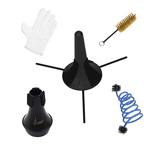 ammoon Trompeta Accesorios Mantenimiento Kit de cuidado de limpieza incluyendo cepillo de válvula de soporte de trompeta Cepillo de serpiente flexible Guantes de silencio