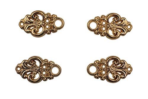 Hartmann-Knöpfe 4 Stück (2 Paar) Gold glänzende Miederösen Miederhaken Ösen für Dirndl Mieder Coursage aus Metall, zum Annähen 25mmx15mm
