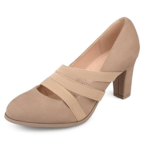 Journee Collection Comfort Sole Triple Elastic Strap Chunky Heels Taupe, 7.5 Regular US