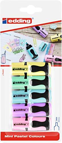 edding 7 - Textmarker Mini - Pastell Farben - Keilspitze - 5er Set - Highlighter für Schule, Büro,...