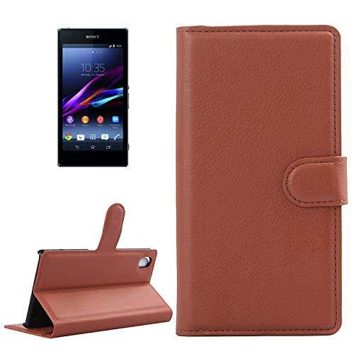 PROTECTIVECOVER + For SONY Xperia Z1 / L39h Funda de cuerocon tapa horizontal de textura de Litchi con soporte, ranura de tarjetas y billetera De Caja de protección de la moda ( Color : Brown )
