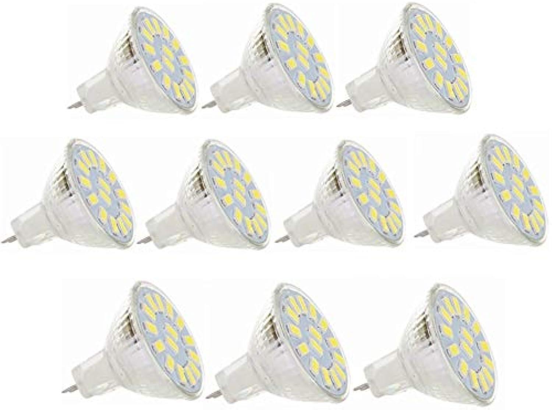 10Pack 5W MR11 LED-Birnen 12V 24V, GU4.0 15led 5730SMD, 40w quivalent, 350-380LM, Nicht dimmbar, Einbaustrahler, AC DC 9-30V (Farbe   Kaltes Wei)