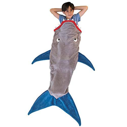 QUMENEY Shark Tail Decke, Die Original Haifisch Decke, Mermaid Schlafsäcke, Polar Fleece Schlafsack im Schlafsofa für Teenager Kinder Jungen