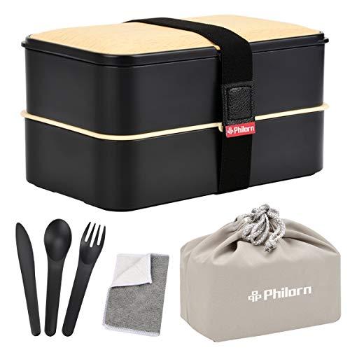 PHILORN Lunch Box a Prova di Perdite 1200ml 2 livelli Bento Box con set di Posate Riutilizzabili Pranzo al Sacco Pasto per Alimenti Prep Contenitore Contenitore per Microonde Sicuro