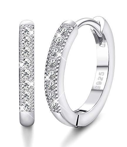 Sllaiss Cubic Zirconia Small Hoop Earrings for Women 925 Sterling Silver Huggy Hoop Earrings Hypoallergenic