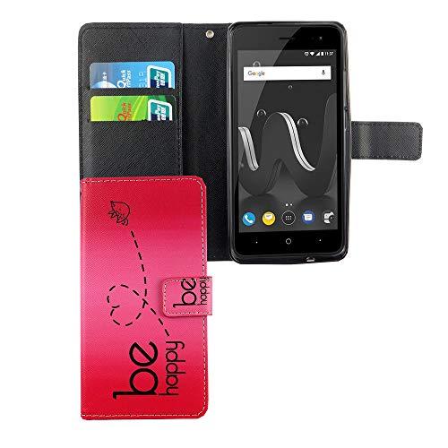 König Design Handyhülle Kompatibel mit Wiko Jerry 2 Handytasche Schutzhülle Tasche Flip Hülle mit Kreditkartenfächern - Be Happy Design Pink