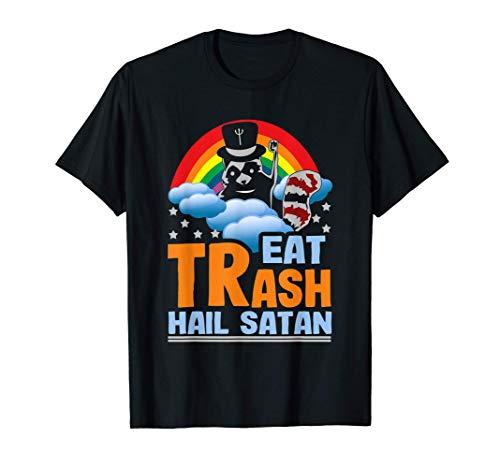 Eat Trash Hail Satan Raccoon Rainbow Gift T-Shirt