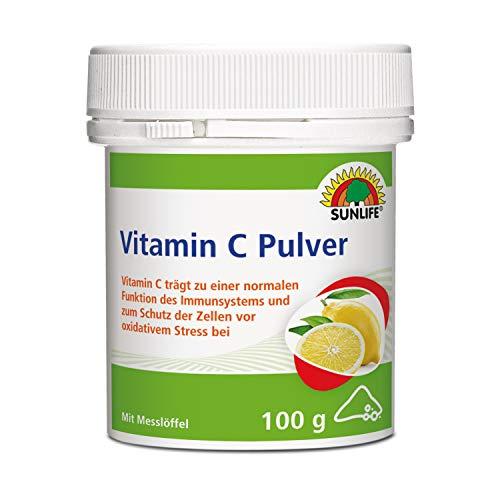 SUNLIFE Vitamin C Pulver: Vitamin C unterstützt das Immunsystem und schützt die Zellen vor oxidativem Stress, mit Messlöffel, 100g