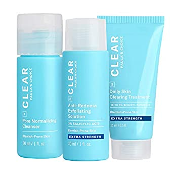 Paula s Choice CLEAR Extra Strength Acne Travel Kit 2% Salicylic Acid & 5% Benzoyl Peroxide for Severe Acne Redness Relief Two Week Trial Size