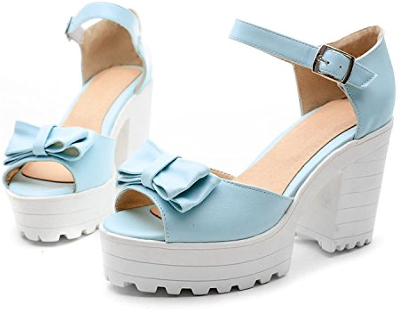 WHW Women's Summer Slingback Leatherette Dress Casual Wedge Heel Rhinestone Sandals,bluee,40