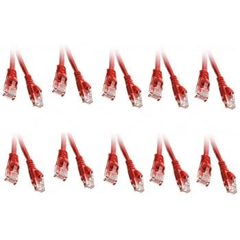 CNE17762 Snagless//Molded Boot 3 Feet Red 10 Pack Cat5e Ethernet Patch Cable