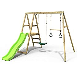 Multi-Activity wooden play set perfect for gardens with limited space Double swing frame with integrated slide platform 6ft (1.75m) Injection moulded slide Great for smaller gardens Adjustable Seat height