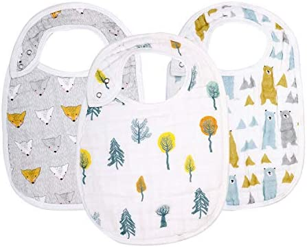 Snap Muslin Bibs for Boys Girls 3 Pack Baby Bibs for Infants Newborns and Toddlers 100 Cotton product image