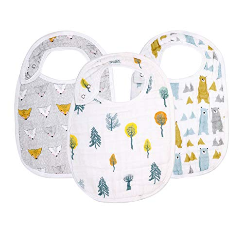 """Snap Muslin Bibs for Boys & Girls, 3-Pack Baby Bibs for Infants, Newborns and Toddlers, 100% Cotton Muslin Absorbent & Soft Layers, Adjustable Snaps, """"Bear, Hedgehog, Tree"""""""