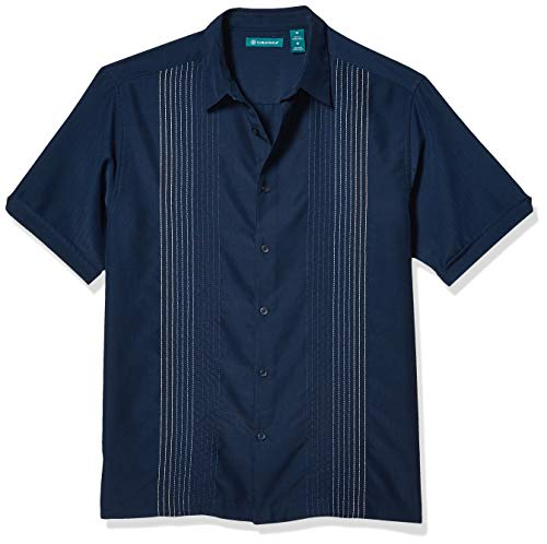 Cubavera Men's Striped Panel Dobby Button Down Shirt, Dress Blues, X Large