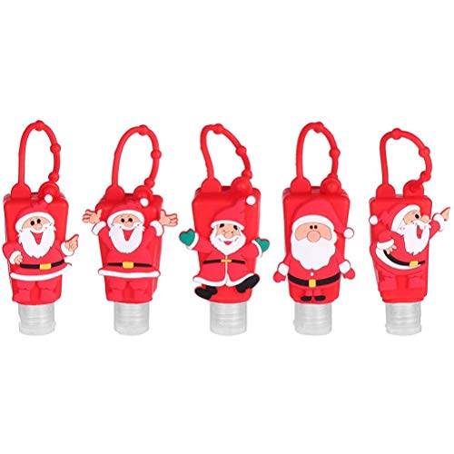 Hand Lotion Houder,5 Stks 30 ml Cartoon Kerst Hand Lotion Houder met Siliconen Case Xmas Lege Reistfles Hervulbare Lotion Vloeibare Dispenser Containers