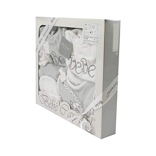 Coffret Ensemble bébé 7 pièces 3 à 6 Mois blanc et gris - Motif Bébé