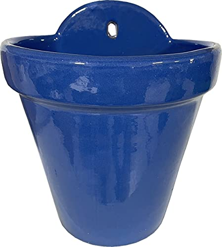 Maceta Colgar Pared Barro Esmalte 18 cms Exterior (22 cms, Azul ELÉCTRICO)